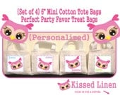 """Personalized Pink Bird Face Birthday Party Treat Favor Gift Bags Mini 6"""" White Canvas Totes Children Kids Guests Party Favor Gift Bags"""
