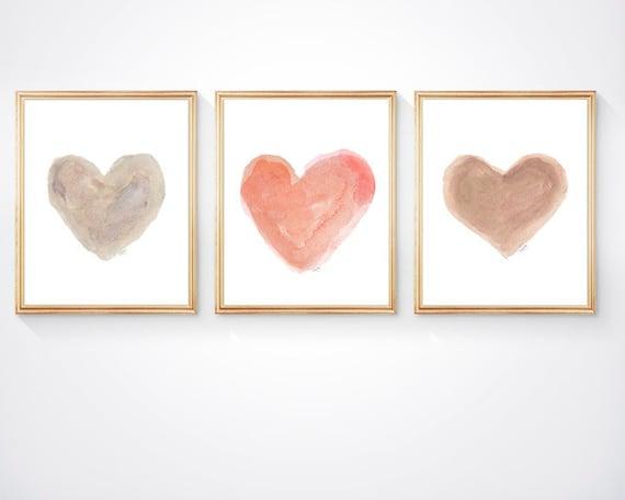 Natural Nursery Print Set, Set of 3 - 8x10 Heart Prints