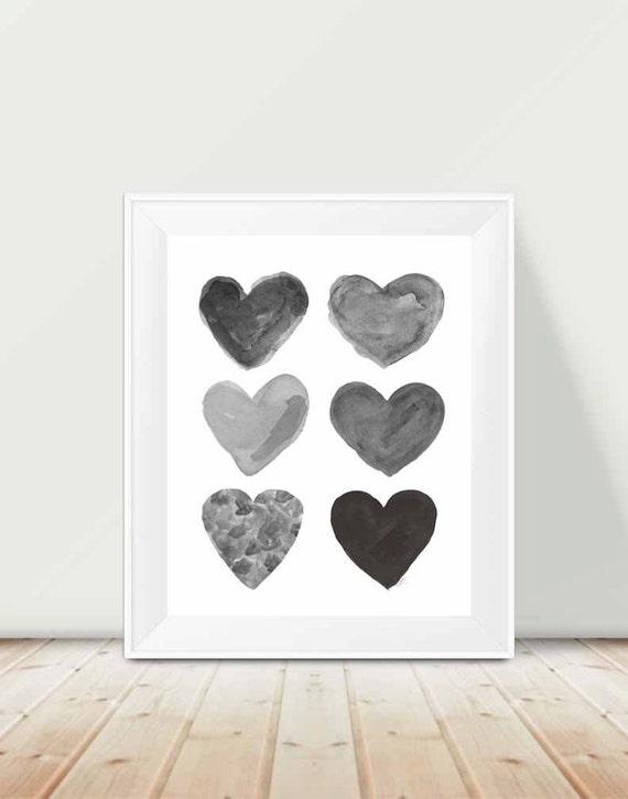 Black and White Children's Print Art, 11x14 Hearts