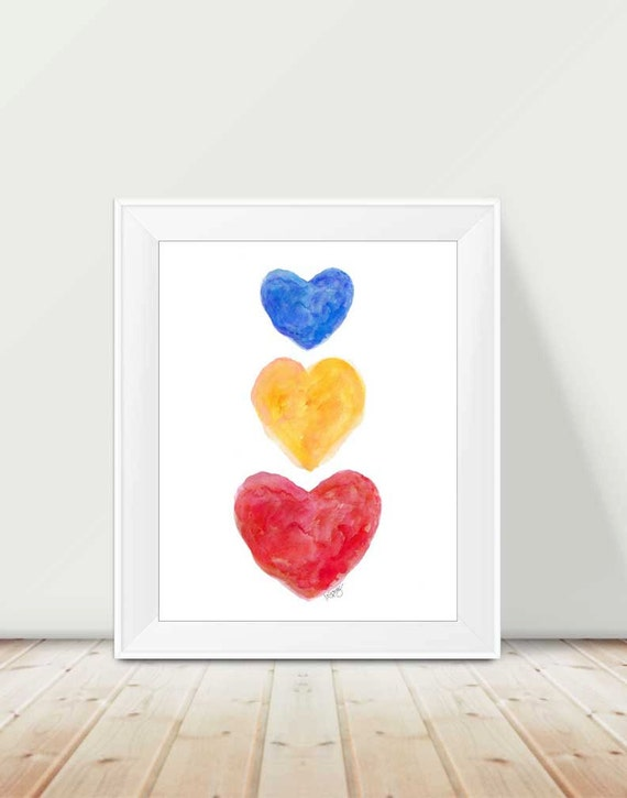 Primary Playroom Art, 11x14 Watercolor Hearts Print