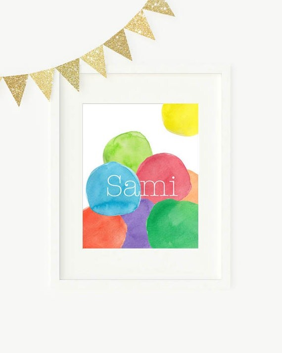 Modern Playroom Art, 8x10 Personalized Primary Colors Print