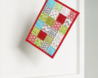 Insulated Large Christmas Potholder - Large Holiday Winter Quilted Patchwork Kitchen Houseware and Decor