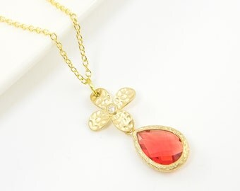 Coral Pendant Necklace, Gold Flower Necklace, Coral Teardrop Necklace, Coral Gold Drop Necklace with 18  or 20 Inch Gold Plated Chain  CJ1-6