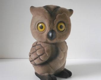 Vintage Owl flock Money Box  kitsch retro Woodland