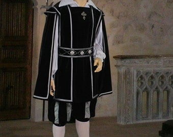Tabard Tunic in Medieval or Renaissance Musketeer Style Handmade from Velvet, Multiple Colors Available