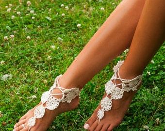 Women's crochet barefoot sandals -Barefoot sandal -Bridal Foot jewelry -Beach wedding accessory -Boho chic shoes -Lacing sandals -Bohemian