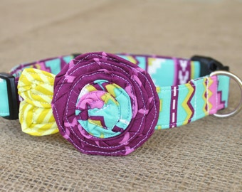 Dog Collar - Turquoise Aztec Print with Orchid Flower and Yellow-Green Chevron Leaves