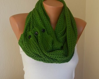 Knit lace scarf-Green knit lace button infinity scarf-Circle scarf-Winter scarfs-Women scarf-Neck warmer-Cowl-Button scarf-Gift for her