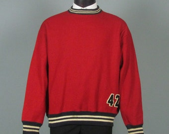 Vintage Mens 1940s Pullover -- Wilson Sporting Goods Red Wool Sports Pullover 1942 -- Red and Black Size 46