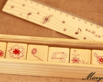 Musical Notes Stamp Set - Rubber Stamp - Diary Stamp - Deco Stamp - Ruler - Filofax