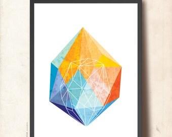 GEOMETRIC Art Poster, A3 Gem Art Print, Jewel Illustration Wall Art, Geometric facet, Abstract imaginary Precious Stone, orange, blue