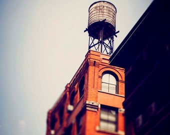 New York City Water Tower - Vintage Style Red Brick - Urban Home Decor Photography