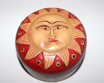 Hand Carved and Hand Painted Round Wooden Sun Face Box