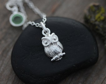 OWL, Sterling Silver Owl Necklace, Sterling Silver Owl Necklace, Silver Owl Jewelry. Choose chain.  By LifeOfSilver