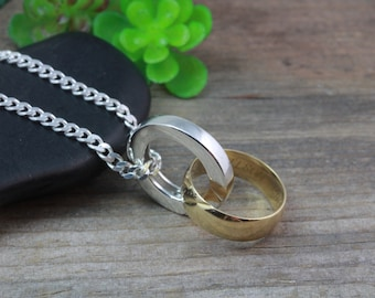 Sterling Silver Ring Holder Necklace, Mens Ring Holding pendant, Large Unisex Ring Holder necklace. Original design by LifeOfSilver L150