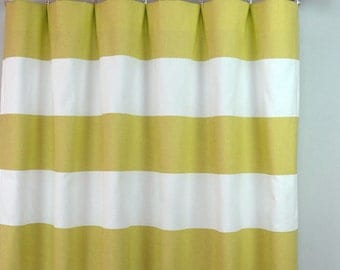Saffron Yellow White Horizontal Stripe Cabana Curtains - Rod Pocket - 84 96 108 or 120 Long by 24 or 50 Wide - Optional Blackout Lining