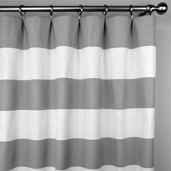 Storm Gray Greige White Cabana Horizontal Stripe Curtains