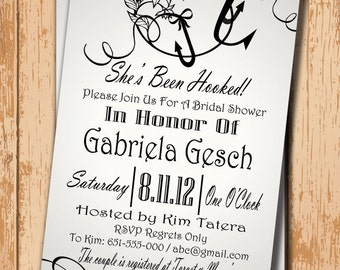 Wedding Shower Invitation. Bridal Shower Invitation. Shower Invite. Printable Invitation. Fishing Invite. DIY Wedding. Rustic Wedding Invite