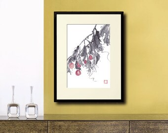 Gogi Berry Original Watercolor Painting Chinese Brush Art