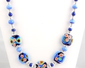 Blue and Sterling Silver Modern Lampwork Necklace, Abstract Design, Beaded Necklace, Fashion Jewelry, Statement Necklace, Mother's Day
