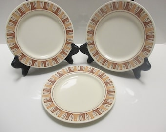 Taylor Smith & Taylor Taylorstone Etruscan Pattern Mid Century Geometric - Set of 3 Bread and Butter Plates