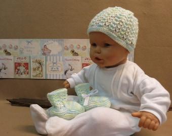 Baby Clothes, Shower Gift Set, Newborn Bonnet And Booties, Matinee Set Handmade in Australia