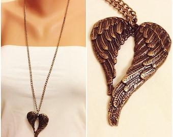Brass Angel Wing Necklace, Delicate Hesrt Necklace, Angel Wing Pendant  Necklace, Long Necklace,Necklaces, Brass Jewellery, Love Necklace,