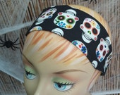 Sugar Skulls Headband - 100% Cotton - Black