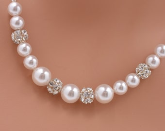 Set of 4 Bridesmaid Pearl Necklaces, Pearl and Rhinestone Necklaces, 4 Bridesmaid Necklaces, Pearl Strand Necklaces, Pearl and Crystal 0232