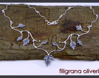 Leaves necklace with Burnished Silver 925