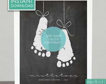 MISTLETOES - Add Your Footprints, Printable // Instant Download // Chalkboard