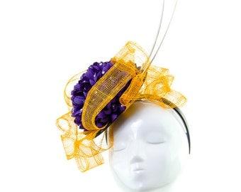 PETAL PROFUSION - Purple and Orange Fascinator Headpiece