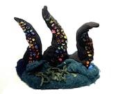 Wet Felted Wool, Soft Sculpture, three Tentacles, octopus, squid, leviathan, kraken, suckers, From the Depths, Melasdesign, Susan P Hicks