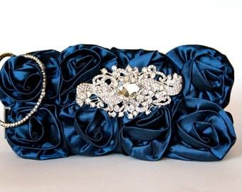 Blue Taffeta Evening Bag with a Gorgeous Swarovski Crystal Accent - Blue Purse - Blue Clutch - Blue Bag - Blue Rose - Something Blue