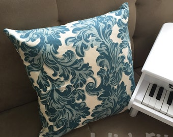 Blue Ivy Pillow Cover, Gzhel Print, White and Blue Flower Pillow 17 x 17