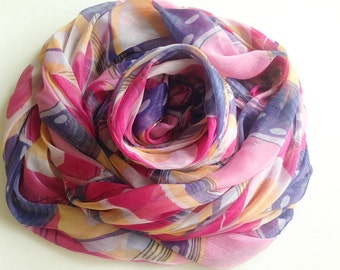 Pink Lilac Yellow Chiffon Fabric, Sweet Abstract Graffiti Printed, Lady Scarf, Light weight blouse, Woman skirt, bag decoration, cf005