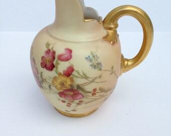 ANTIQUE c.1890 Royal Worcester Porcelain Blush Ivory Flat Back Jug Ref 1094