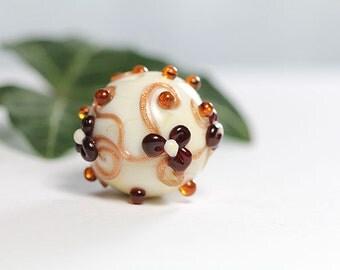 Ivory Handmade Lampwork Ball Bead Focal   sra