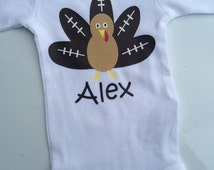 BOYS Thanksgiving outfit - football turkey shirt - baby boy bodysuit - fall baby boy outfit- toddler boy - baby boy thanksgiving