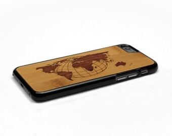 iPhone 6 Case Wood World Map Inlay Bamboo Rosewood, Wood iPhone 6s Case Wood iPhone 6 Case, iPhone 6 Wood Case, iPhone 6s Wood Case