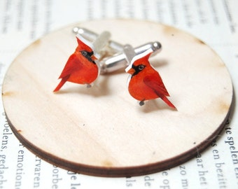Red Cardinal cuff links. Bird Cuff links. Hand drawn cuff links. Mens accessories