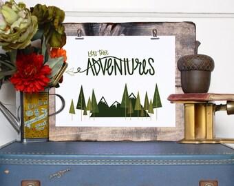 Lets Take Adventures // Digital Print // Handlettered Typographic Print