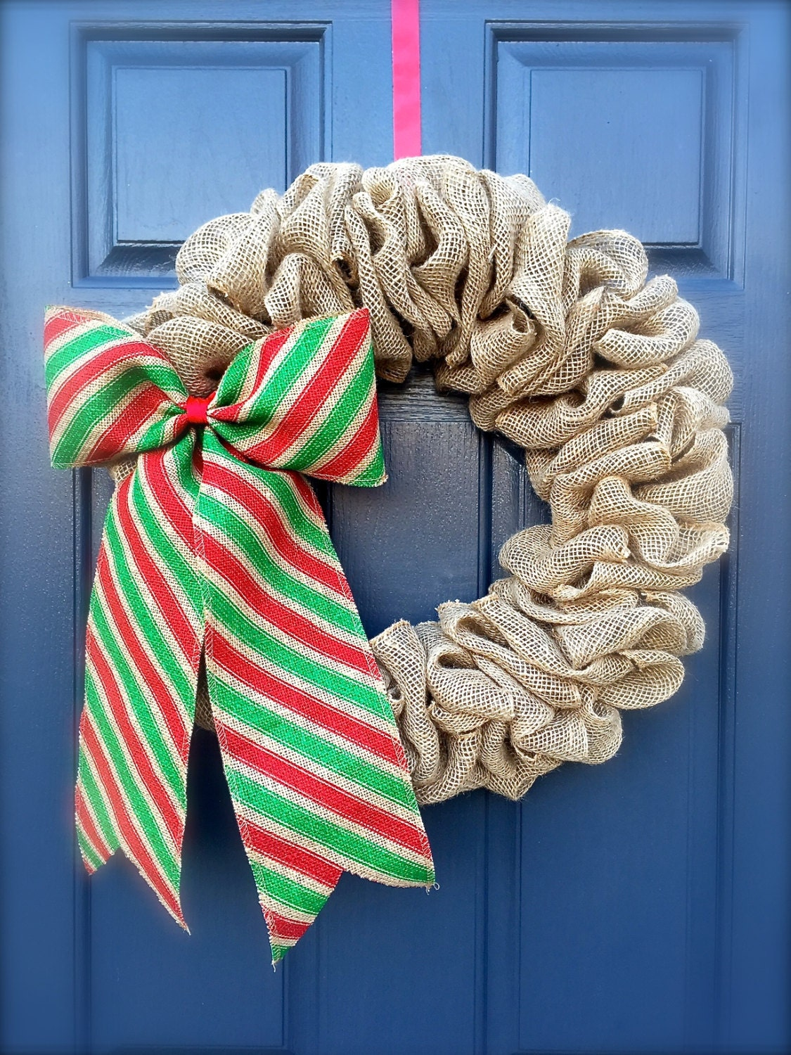 Burlap christmas wreath red and green burlap by Burlap xmas wreath