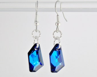 Sparkling Cobalt Blue Swarovski Crystal Asymetrical earrings on sterling silver 925 with surgical steel hooks, Deep blue crystal earrings