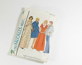 McCalls 4637 - Vintage 1975 - Maternity Dress or Top and Pants Pattern Size 12