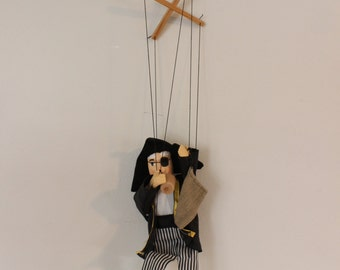 Handcrafted Pirate Marionette - Antique Marionette - Peg Leg Pirate Marionette - Drunk Pirate Marionette, Drinking Sailor Marionette -