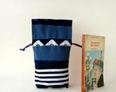 Draw string bag / kinchaku / Blue geometrical patchwork