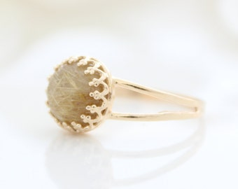 Rutile Quartz Ring | Gold ring set with a golden rutilated quartz gemstone
