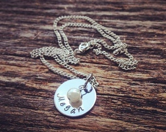 Personalized Hand Stamped Necklace Mothers Necklace Stacking Necklace Christmas