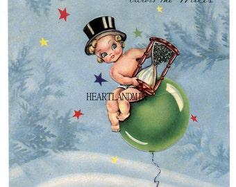 New Years Vintage Digital Image Printable Download